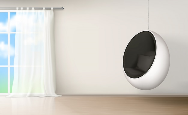 Egg chair in room interior realistic vector Free Vector