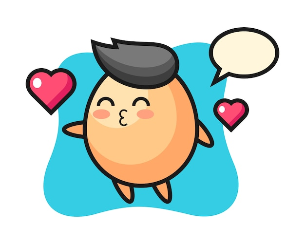 Egg character cartoon with kissing gesture, cute style  for t shirt, sticker, logo element Premium Vector