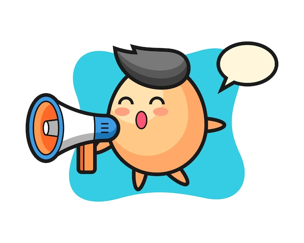 Egg character illustration holding a megaphone, cute style  for t shirt, sticker, logo element Premium Vector