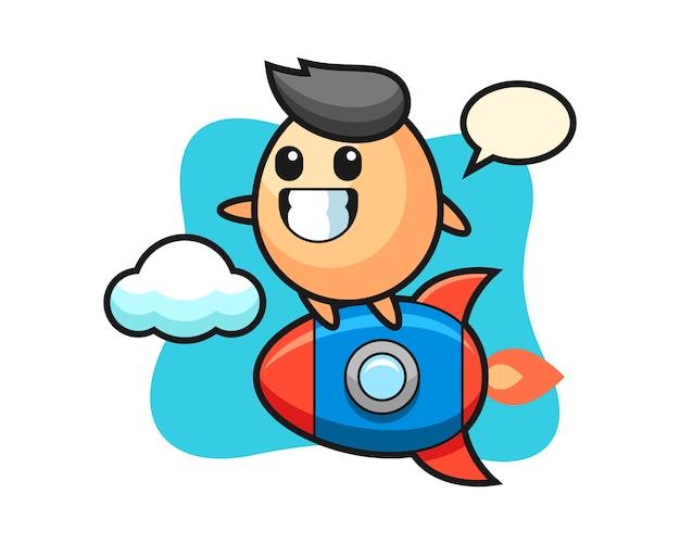 ロケットに乗った卵のマスコットキャラクター、tシャツ、ステッカー、ロゴ要素のかわいいスタイル Premiumベクター