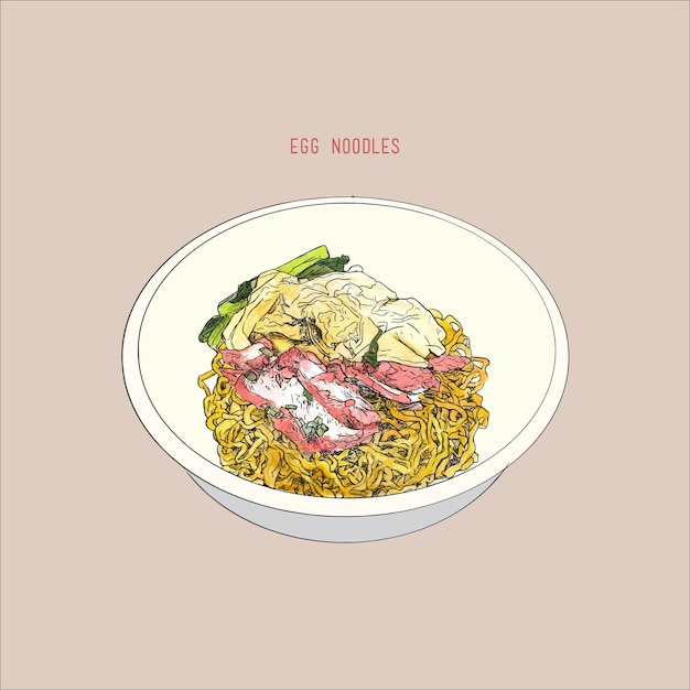 Egg noodles with red pork Premium Vector