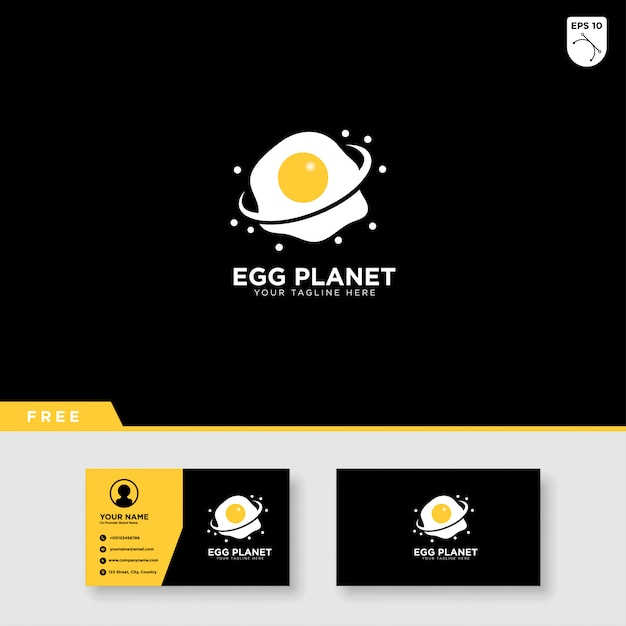 Egg planet logo design and business card template Premium Vector