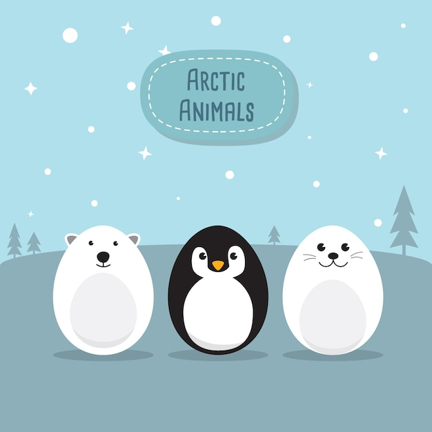 Egg shaped animals character set for easter day, easter eggs paint. a cute polar bear, penguin, baby seal pup, chicken, rabbit character on sky blue background flat design vector illustration. Premium Vector