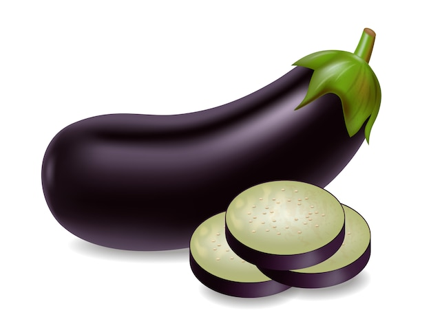 Eggplant with slices Premium Vector