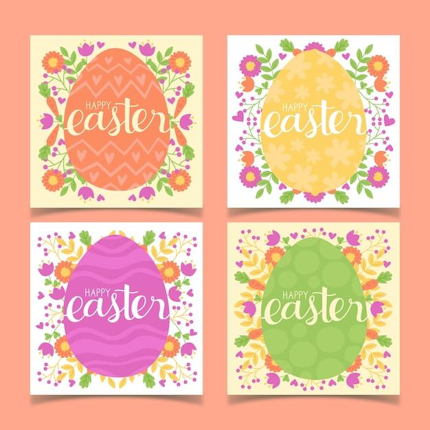 Яйца и цветы instagram пасхальная коллекция Бесплатные векторы