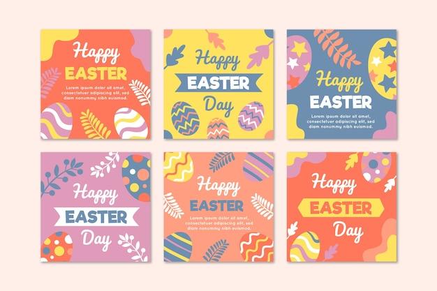 Яйца и листья instagram пасхальная коллекция Бесплатные векторы