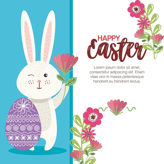 Eggs paint and flowers easter season Premium Vector