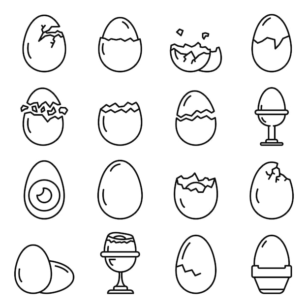 Eggshell icons set, outline style Premium Vector