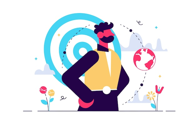 Egocentric . flat tiny personality perspective persons concept. abstract egoistic individuality and narcissists behavior visualization. symbolic complicated character posture.. Premium Vector