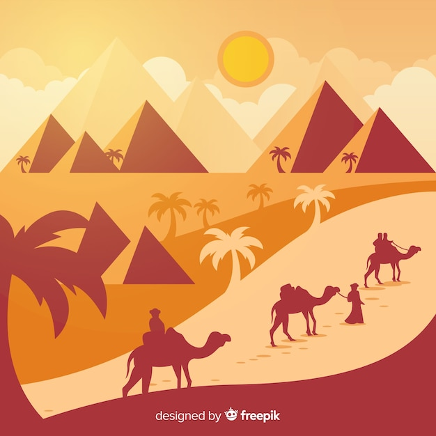 Egypt background with landscape in flat design Free Vector