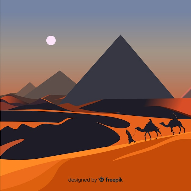 Egypt background with pyramids and camels Free Vector