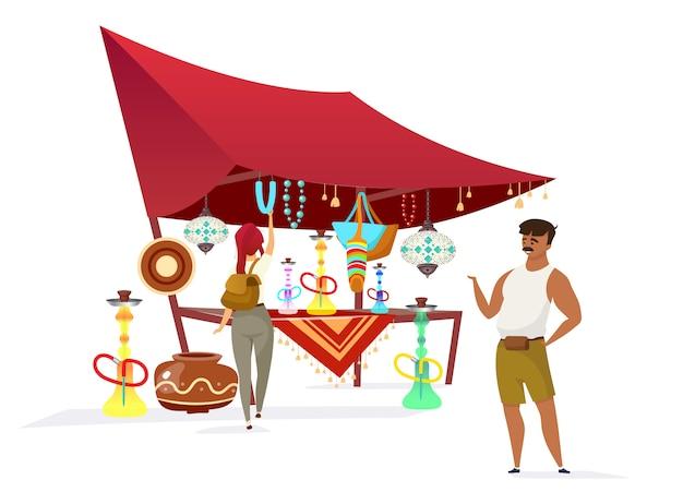 Египетский базар плоского цвета безликого характера. традиционный африканский базар, рынок. продавец, продающий кальяны, сувениры для туристов, изолированных мультфильм иллюстрации на белом фоне Premium векторы