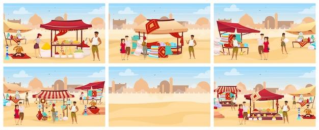 Египет базар плоский цветной набор иллюстраций. арабский открытый рынок с коврами, специями, посудой ручной работы. туристы покупают на заказ сувениры из мультфильмов. восточный базар на фоне пустыни Premium векторы