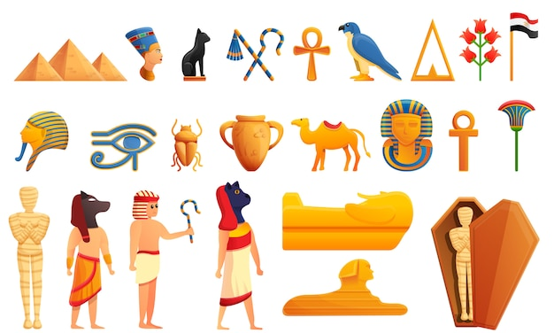 Egypt characters and icons set, cartoon style Premium Vector