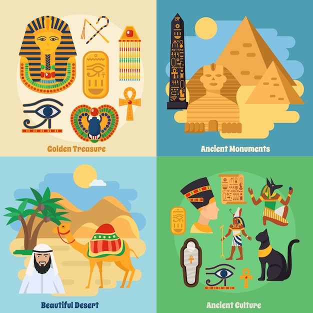 Egypt concept icons set Free Vector