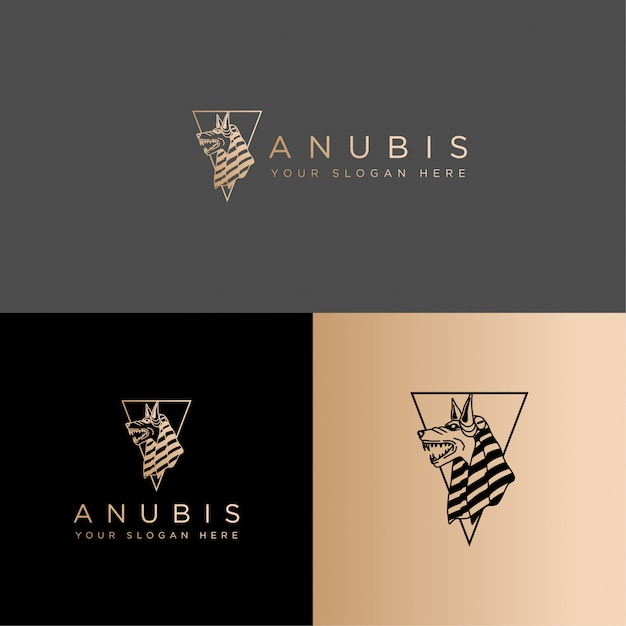 Egypt culture anubis logo line art editable template Premium Vector
