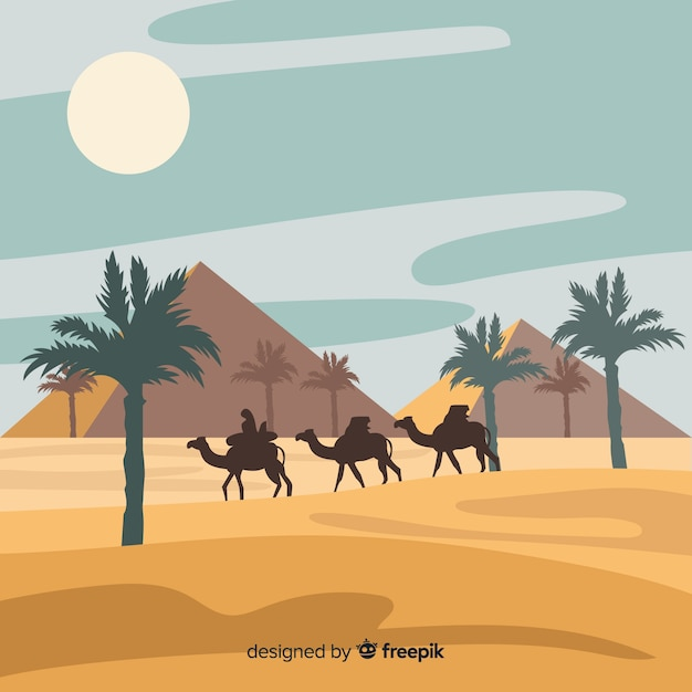 Egypt desert landscape background in flat design Free Vector
