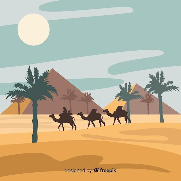Egypt desert landscape background in flat\ design