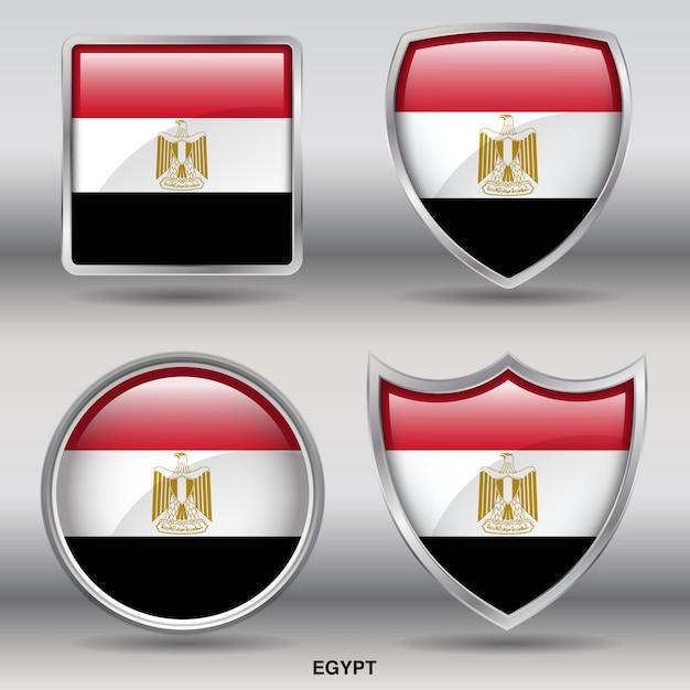 エジプトフラグベベル図形アイコン Premiumベクター