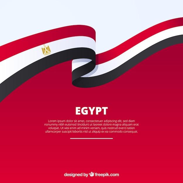 Egypt flag in ribbon shape Free Vector