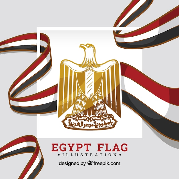 Egypt flag with shield Free Vector
