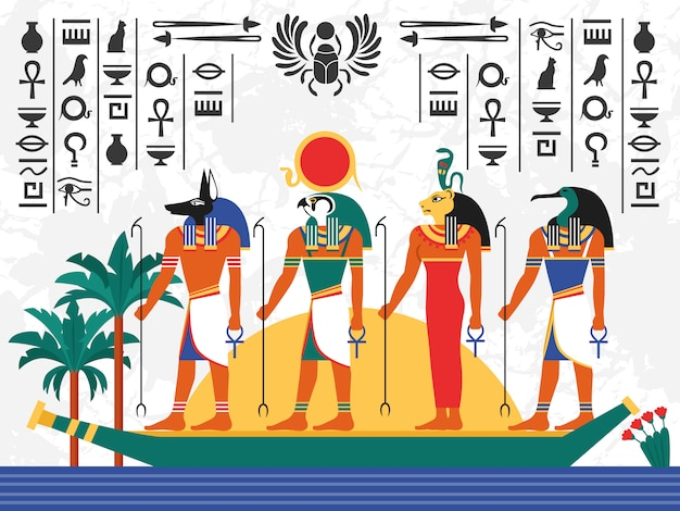 Egypt flat colorful illustration Free Vector