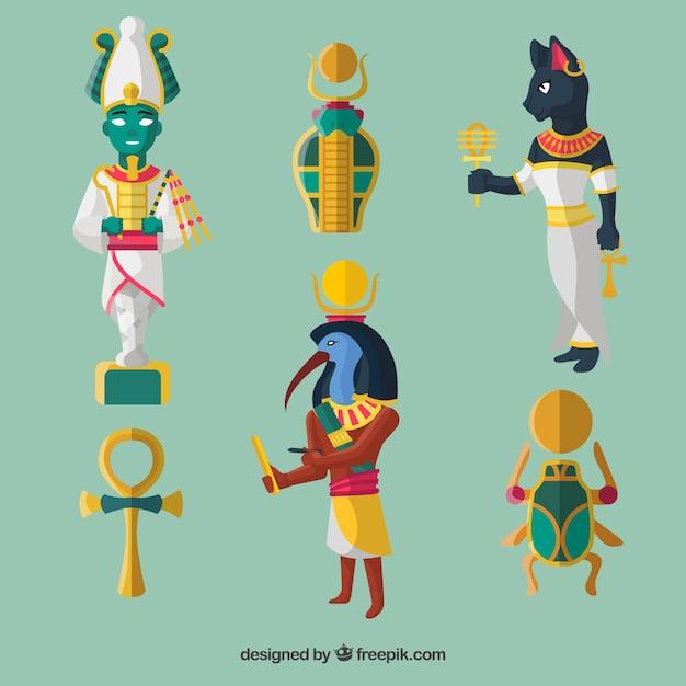 Egypt Gods And Symbols Set Vector Free Download