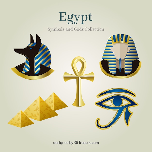 Egypt gods and symbols collectio Free Vector