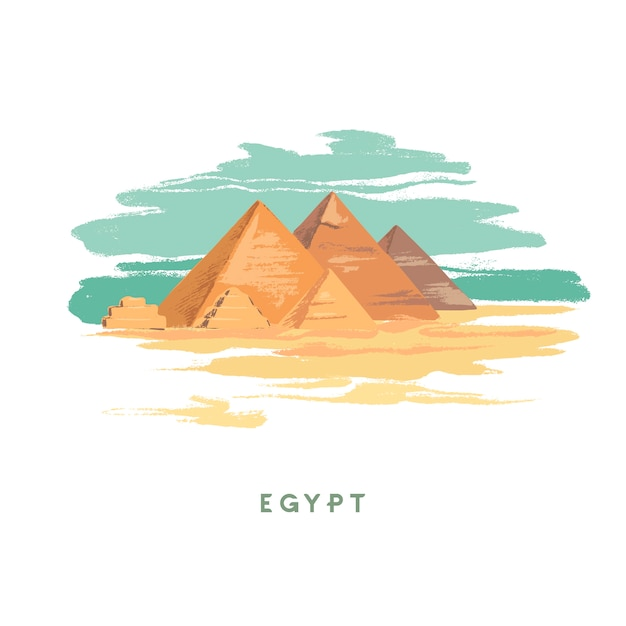 Egypt hand drawn on white Premium Vector