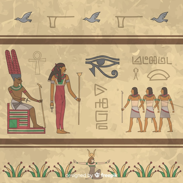 Egypt hieroglyphic background Free Vector