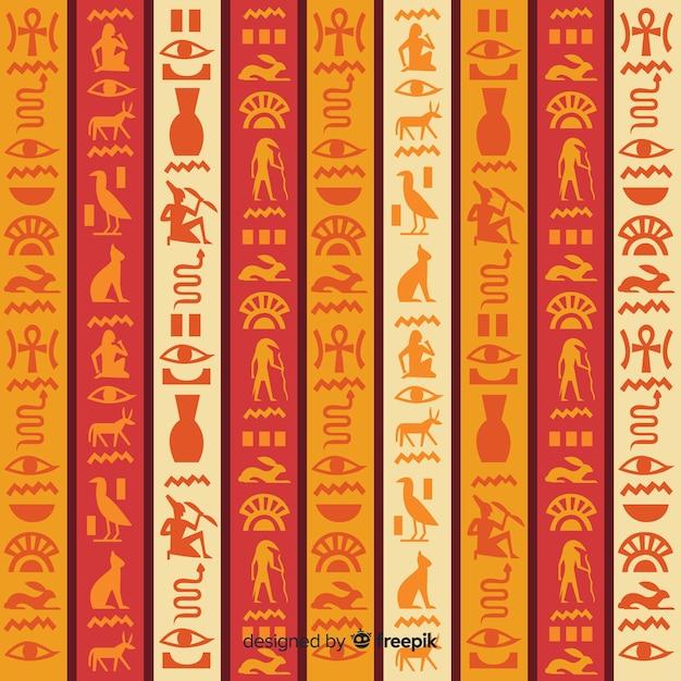 Egypt hieroglyphic pattern background Free Vector