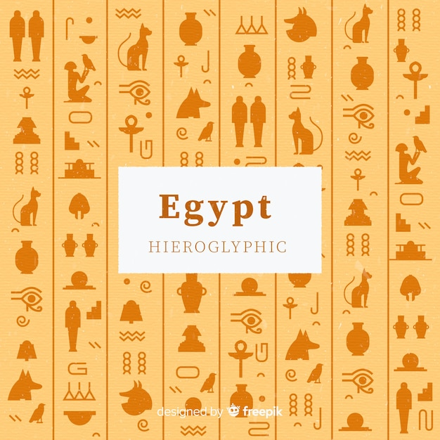 Египетский иероглифический фон в плоском дизайне Бесплатные векторы