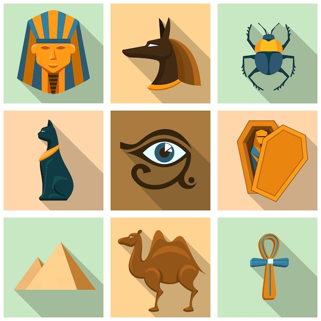Egypt icon set. pyramid, coffin and sarcophagus, mummy and secret, archeology and sphinx, camel and beetle Free Vector