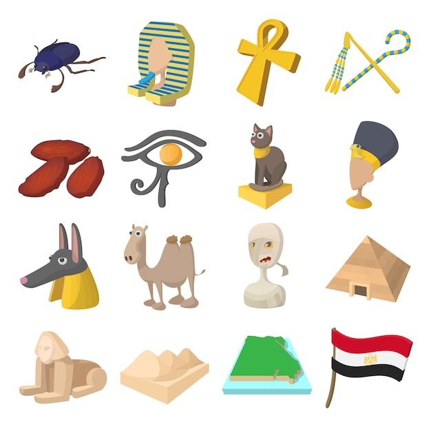 Egypt icons in cartoon style for web and mobile devices Premium Vector