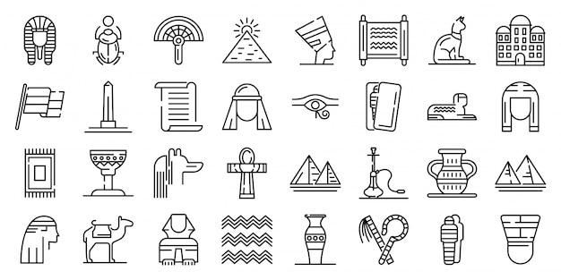 Egypt icons set, outline style Premium Vector