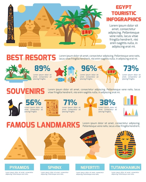 Egypt infographic set Free Vector