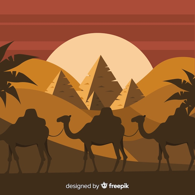 Египет пейзаж фон с верблюдами и пирамидами Бесплатные векторы