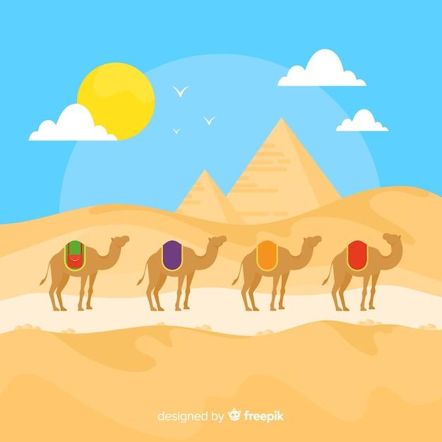 ピラミッドとラクダのエジプトの風景の背景 無料ベクター