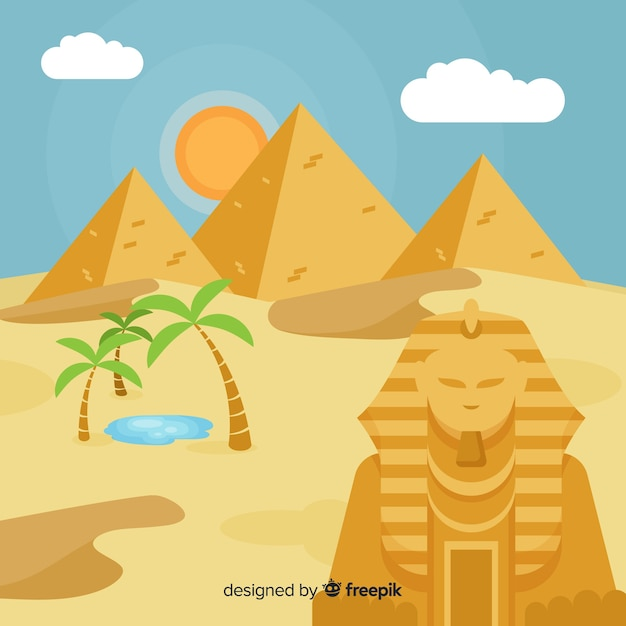 Egypt landscape background with pyramids and camels Free Vector