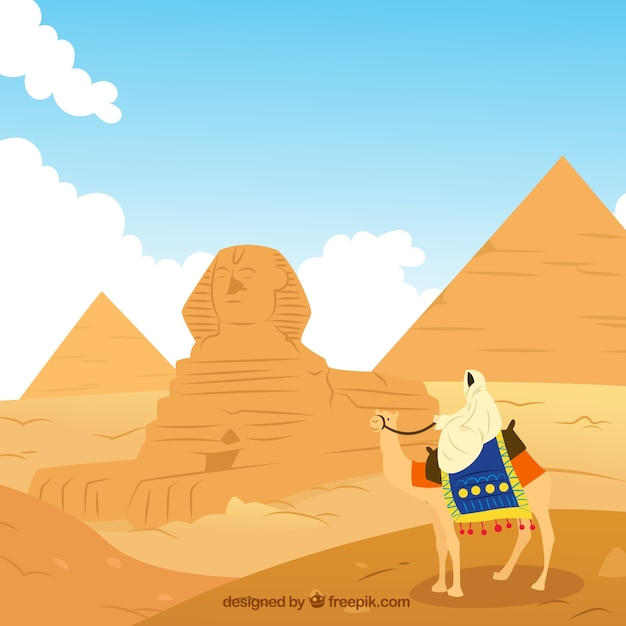 Landscape Illustration Vector Free: Egypt Landscape Illustration Vector