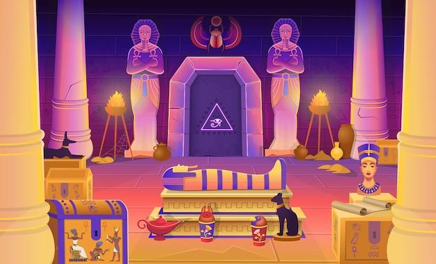 Гробница фараона египта с саркофагом, сундуками, статуями фараона с анхом, фигуркой кошки, колоннами и лампой. иллюстрации шаржа для игр. Premium векторы