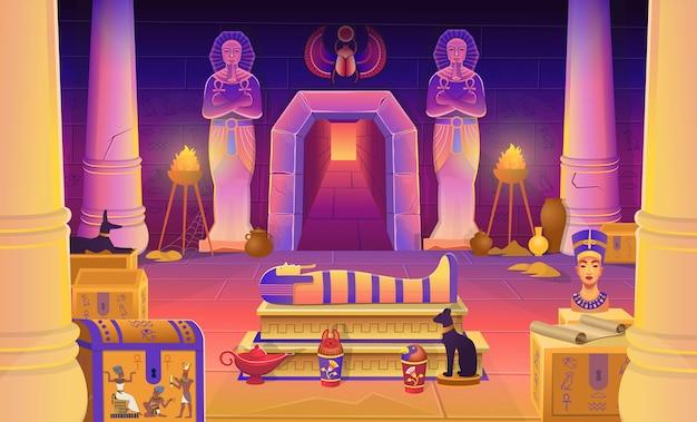 Гробница фараона египта с саркофагом, сундуками, статуями фараона с анхом, фигуркой кошки, собаки нефертити, колоннами и лампой. иллюстрации шаржа для игр. Premium векторы