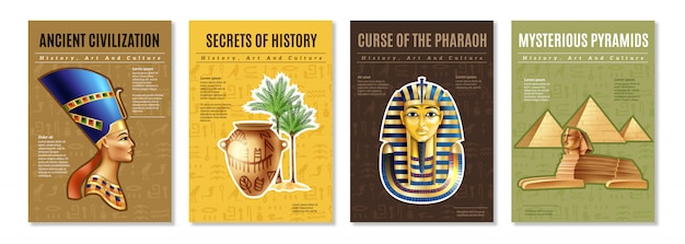 Egypt posters set Free Vector