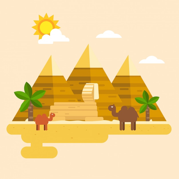 Egypt and pyramid vector Premium Vector