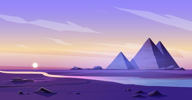 이집트 피라미드와 황혼의 나일강 무료 벡터