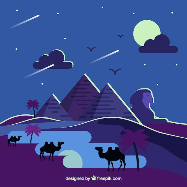 Egypt pyramids landscape with camel caravan in\ the night