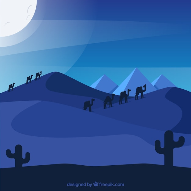 Egypt pyramids landscape with camel caravan in the night Free Vector