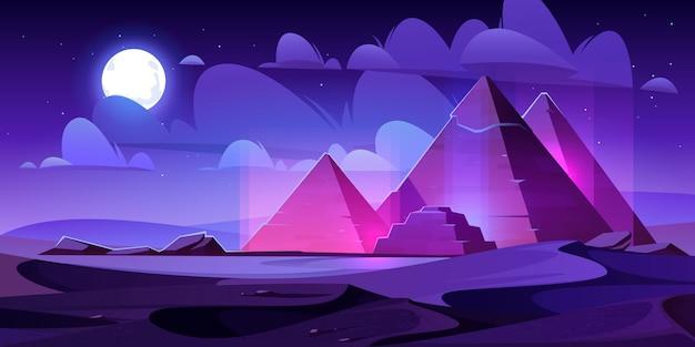 Egypt pyramids night desert, egyptian pharaoh tomb Free Vector