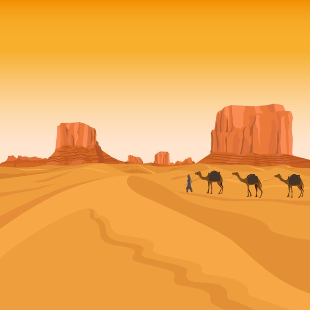 Egypt sahara desert Premium Vector