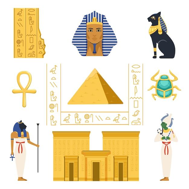 Набор египет, египетские древние символы красочные иллюстрации на белом фоне Premium векторы